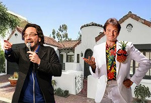 The house at 8420 Cresthill Road (Compass), Marc Maron and Robin Williams (Getty)