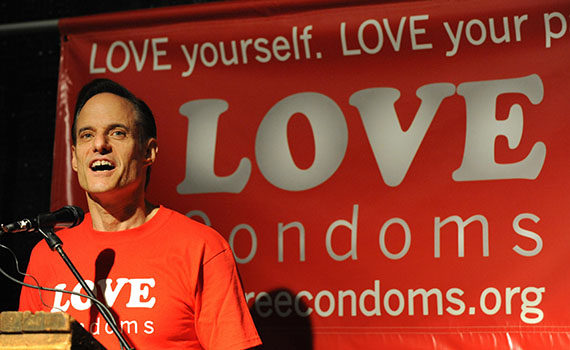 """Michael Weinstein speaking at the launch of """"Love Condoms"""" at the House of Blues in Los Angeles on August 12, 2009. (MARK RALSTON/AFP/Getty Images)"""