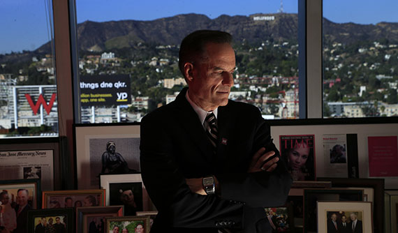 Michael Weinstein in his 21st floor office in Hollywood (Mark Boster/Getty Images)
