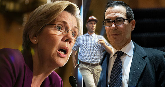 Elizabeth Warren, Forrest Gump (Tom Hanks), and Steve Mnuchin (Getty Images)