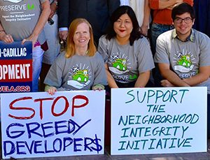Jill Tepley Stewart (left) and other supporters at an NII rally (credit: Coalition to Preserve LA)