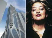 From left: a rendering for 1000 Biscayne Boulevard and Zaha Hadid