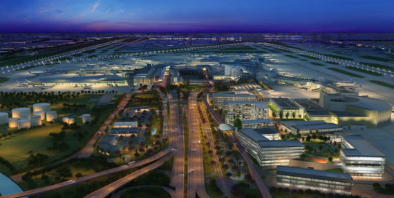 Aerial view of proposed Airport City
