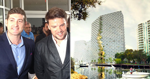 From left, Asi Cymbal and Bjarke Ingels and Marina Lofts rendering.