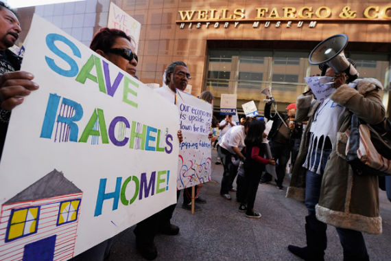 Protesters outside Wells Fargo
