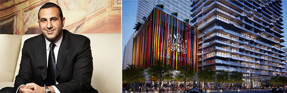 Sam Nazarian and a rendering of the SLS Brickell project
