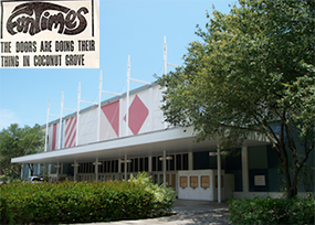 Coconut Grove Convention Center (inset: archived newspaper headline)