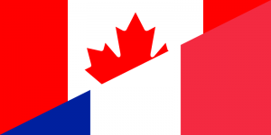 The Canadian and French flags