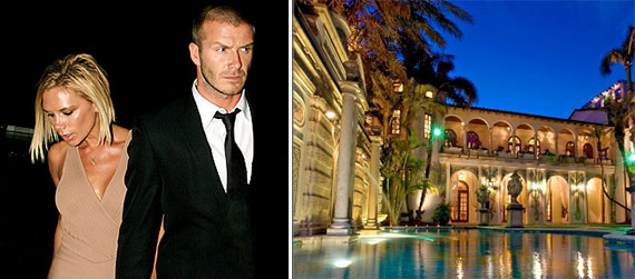 From left: Victoria and David Beckham and the Versace mansion at 1166 Ocean Drive