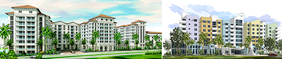 From left: renderings of Bel Air at Doral and North Bay Village