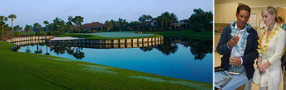 From left, view from the 16th hole at the Loxahatchee Club; Bryant Gumbel and wife Hilary