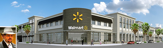 Wal-Mart's rendering for Midtown Miami (inset: opponent Grant Stern)
