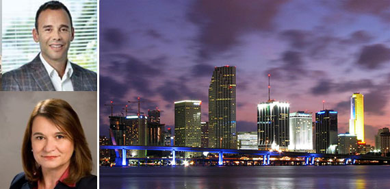 Clockwise from top left: Jay Parker, the Miami skyline and Isabel Lacambra