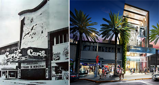 From left, archived photo of the Carib Theater and renderings for a Luis Revuelta-designed retail space