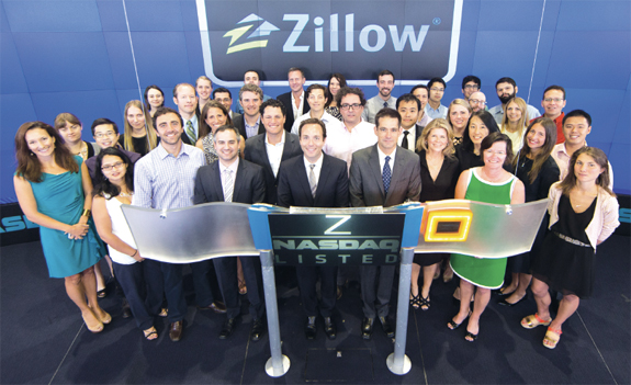 The Zillow and StreetEasy teams at NASDAQ ringing the opening bell on Aug. 19, the day their deal was announced
