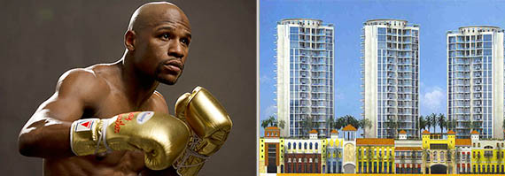 From left: Floyd Mayweather and the St. Tropez condominiums in Sunny Isles