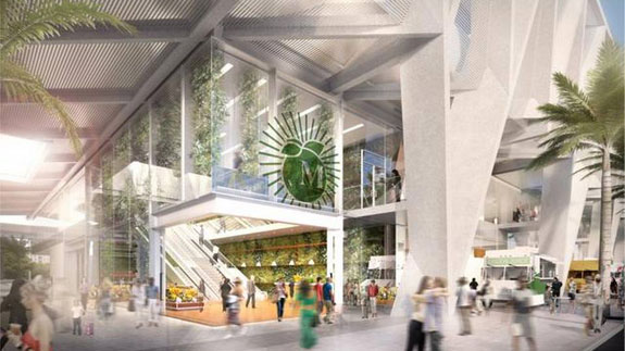 A rendering of the food market at the planned MiamiCentral train station