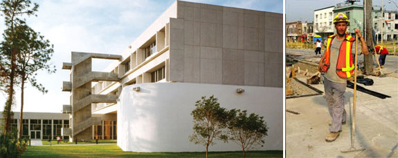 Miami Dade College's Fine Arts building and a construction worker