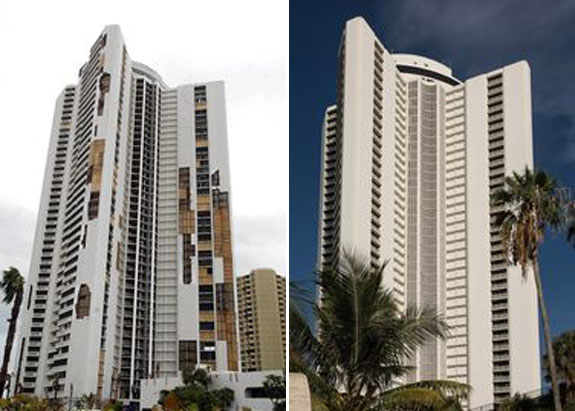 The Tiara, a large high rise condominium complex on the beach in Riviera Beach, in 2004 and in 2014