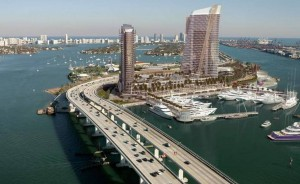 A rendering of the hotel, retail and mega-yacht marina project proposed by Flagstone Island Gardens.