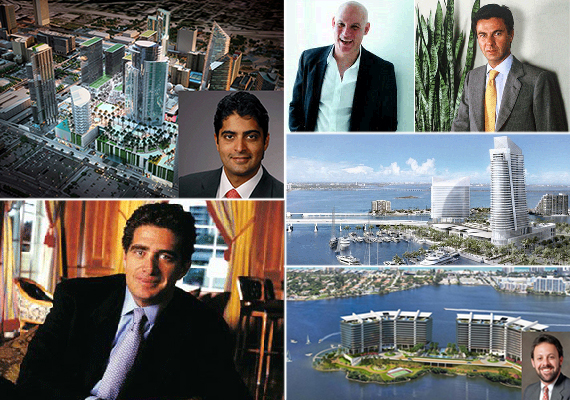 Clockwise from left: Nitin Motwani and Miami Worldcenter, Craig Robins and Ugo Colombo, Flagstone project, Aventura Prive and Gary Cohen, and Jeffrey Soffer