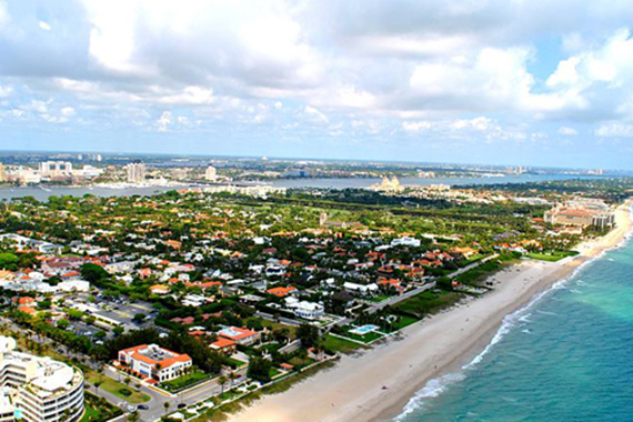 An aerial view of Palm Beach County