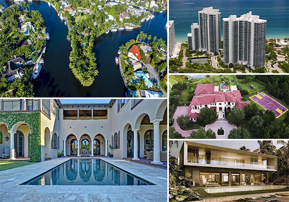 Clockwise from left: 900 Southwest Fifth Place, 3200 North Ocean Boulevard, 16201 Quiet Vista Circle, 252 Bal Bay Drive and 353 East Coconut Palm Road in Boca Raton