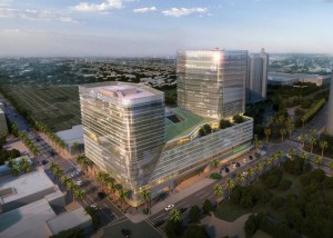 """Rendering of proposed medical complex at downtown West Palm Beach """"tent site"""""""