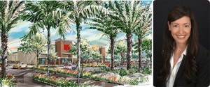 Rendering of BJ's Wholesale Club and Soraya Tyriver, COO of Woolbright Development, the seller