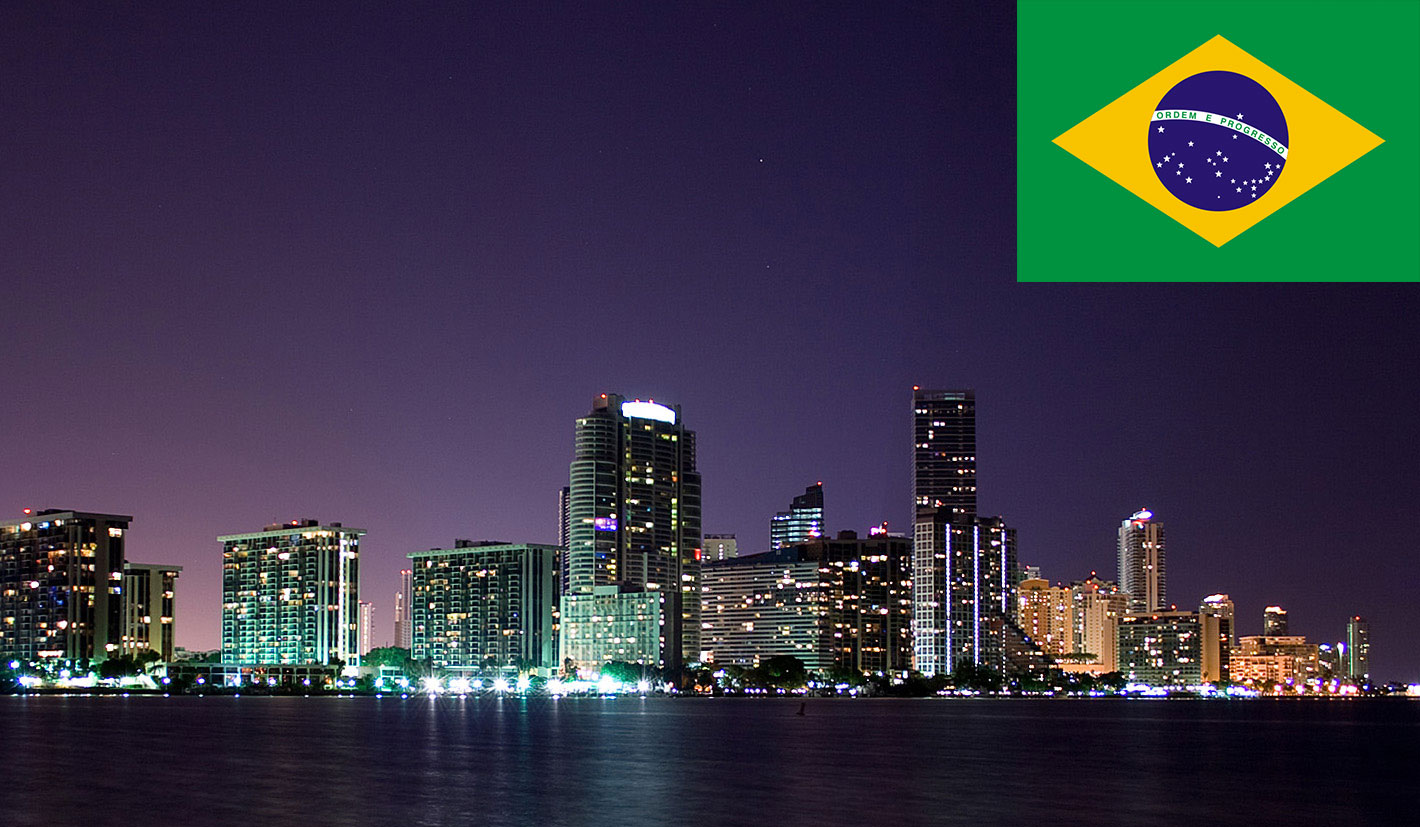 Miami's skyline and the Brazilian flag
