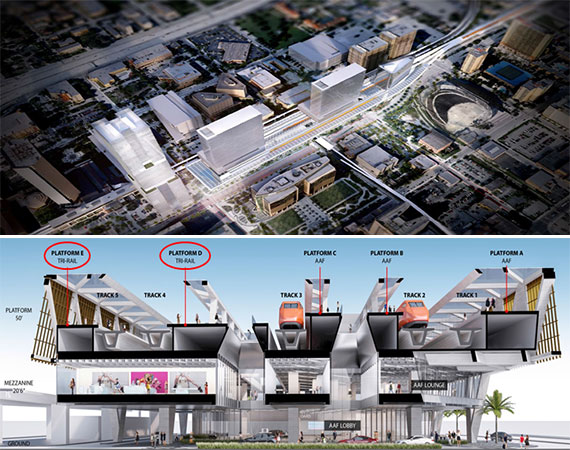 Renderings of the Tri-Rail downtown station