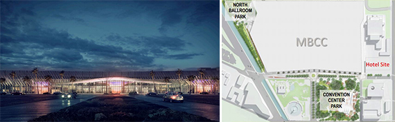 Rendering of the Miami Beach Convention Center and a map of the project