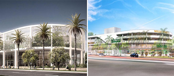 New rendering of the Whole Foods on Alton Road, left, and a rendering of the rejected plans, right (Credit: The Next Miami)