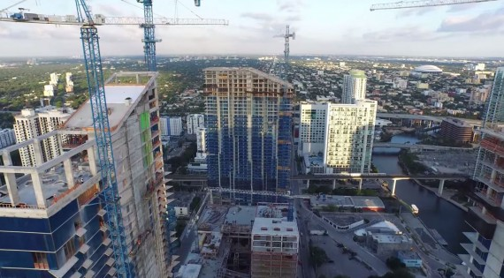 Aerial shot of Brickell City Center under construction