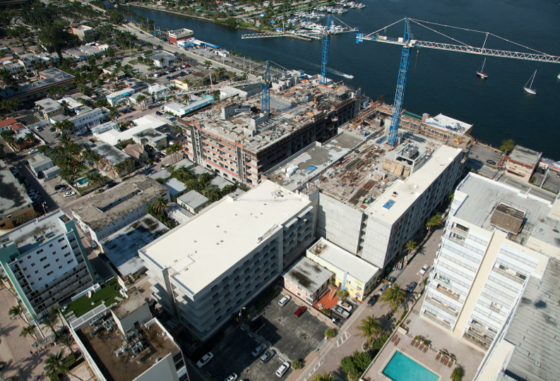 Aerial view of construction of the Meliá Costa Hollywood