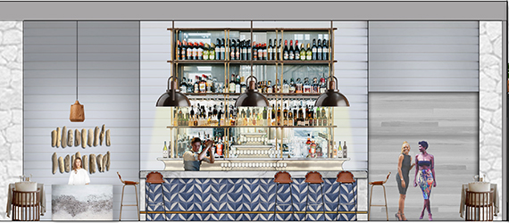 Rendering of the bar on the second floor