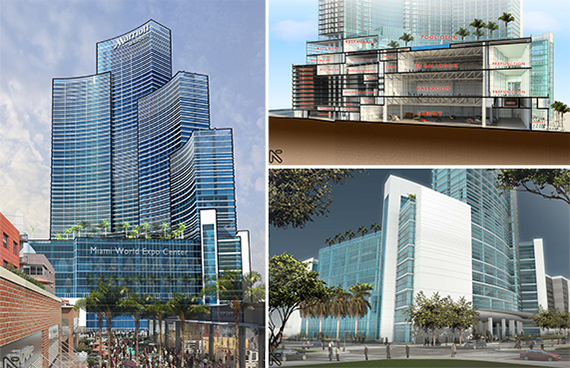 Renderings of the Marriott Marquis Miami Worldcenter Hotel & Expo Center