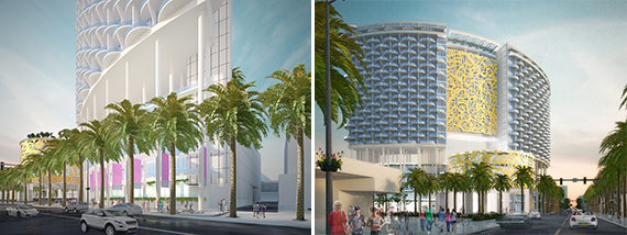 Renderings of the Miami Beach Convention Center Hotel (Credit: John Portman & Associates)