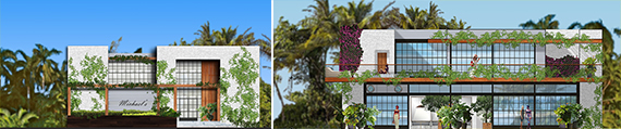 Renderings of One Paraiso's restaurant and beach club