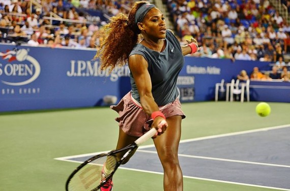 A shot of Serena Williams in action at the 2013 U.S. Open tennis tournament
