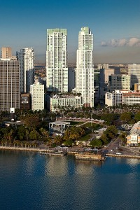 Vizcayne towers in downtown Miami