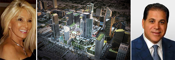 Edie Laquer, rendering of Miami Worldcenter, and Art Falcone