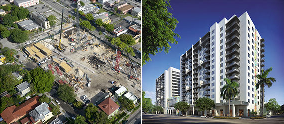 A construction photo and rendering of InTown in Little Havana