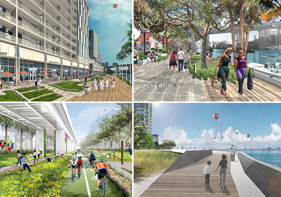 Clockwise from left: two renderings of the River Landing riverwalk (top), rendering of the Biscayne Line and a proposed design for the Underline.