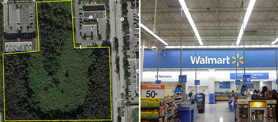 The vacant land near Tamiami and the inside of a Walmart
