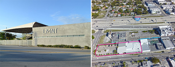 LMNT complex and adjacent parking lots in Wynwood