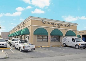 The La Bamba restaurant, one of the lessees in the retail center at 4401 Southwest 74th Street in Miami