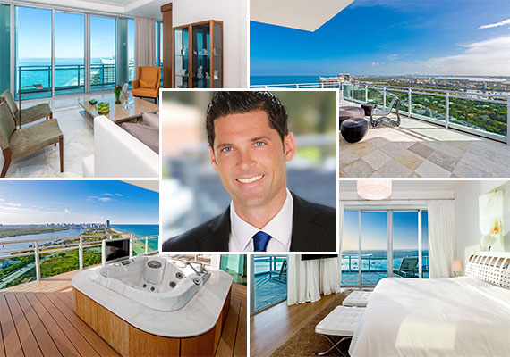 The penthouse at 10295 Collins Avenue and listing agent Chad Carroll