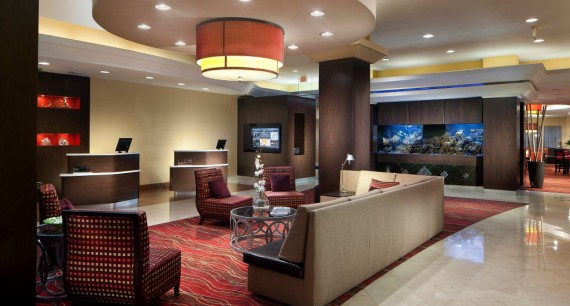 The lobby of the Courtyard by Marriott Downtown Miami hotel, from Marriott's website