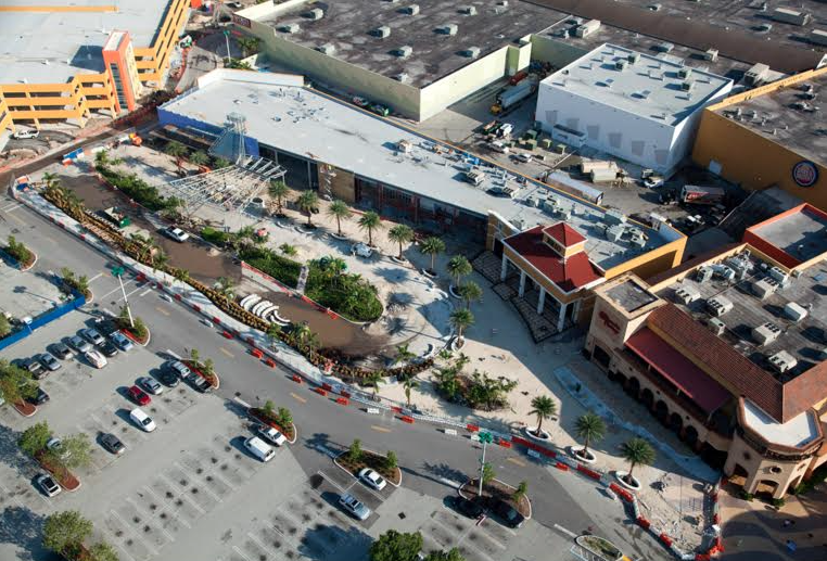 Aerial view of the construction at Dolphin Mall